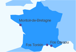 map with GNL terminals of montoir de bretagne fos cavou fos tonkin
